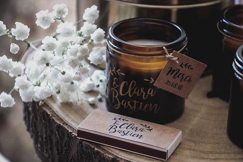 Cadeaux invités - Bougie + boîte d'allumettes
