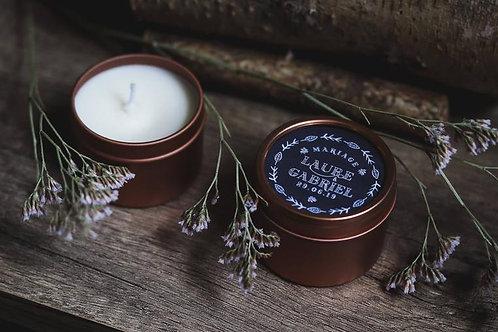 Nouveau : Collection 2019 - Cadeaux invités - Bougie boîtes gold rose - Min 25