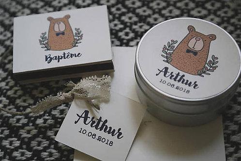 Cadeaux invités - Ensemble bougie + petite boîte d' allumettes -min 25
