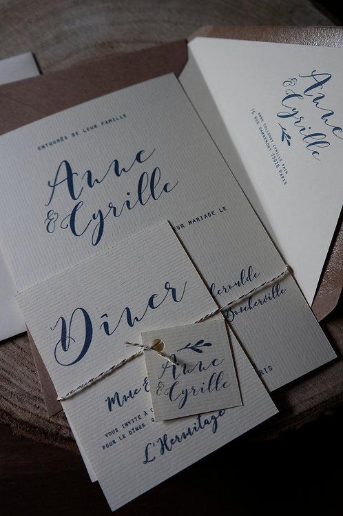 "Faire-part complet - Collection "" Romantic calligraphy "" - c"