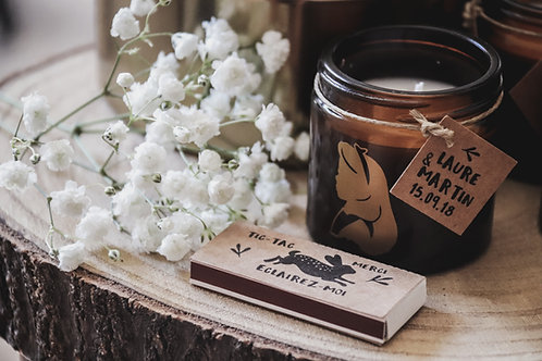 Cadeaux invités - Ensemble : petite bougie + boîte d'allumettes