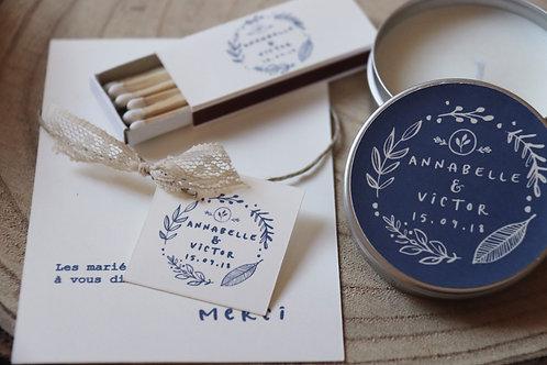 Cadeaux invités :Ensemble bougie + boîte d'allumettes - Thème Folk -min 25