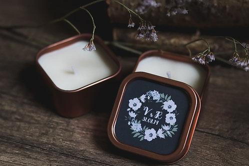 Nouveau : Collection 2019 - Cadeaux invités - Bougie boîtes gold rose - commande