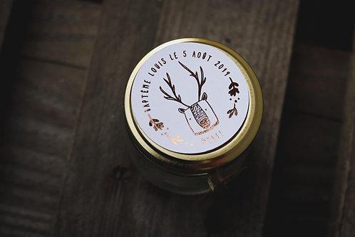 Cadeaux invités baptême : Bougie police gold rose + petite étiquette - commande
