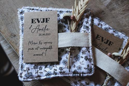 Cadeaux pour EVJF :  10 lingettes + étiquettes personnalisées + fleurs séchées