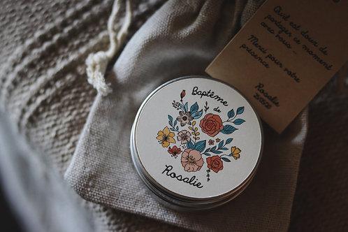 Cadeaux invités : Bougie + petite pochette étiquette personnalisée - Commande mi