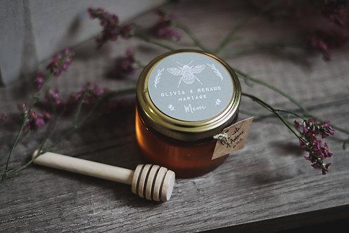 Cadeaux invités - Petit pot gourmand - Pot de miel de 30 Ml + cuillère bois