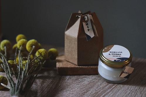 Nouveau cadeaux invités - Bougie + boîte kraft - commande minimum 30