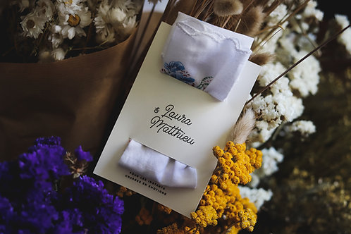 Cadeaux invités - Mouchoir en coton + étiquette personnalisée