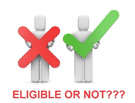 eligible or not sign. one cut out holding an x and the other holding a check mark