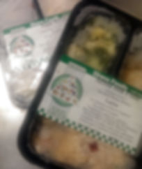 a sample of two frozen meals that clients can receive