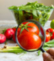 a magnifying glass looking at tomatoes for the food safety button below