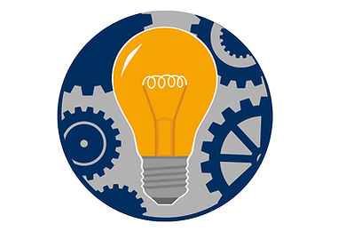 Lightbulb logo with gears turning in background