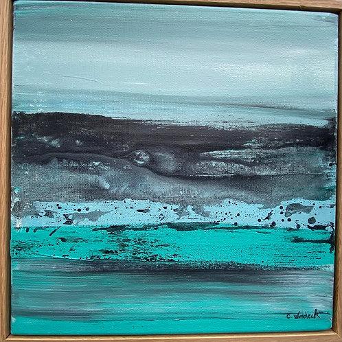 Acrylique et Encre 30x30 cm paysage