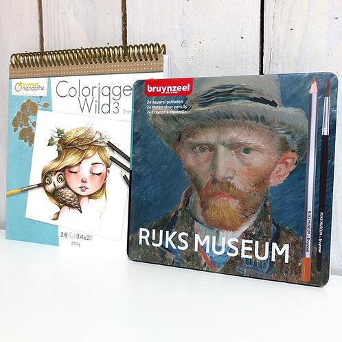 Kit coloriage + crayons de couleur aquarellables Bruynzeel