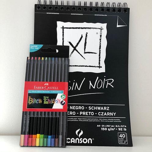Kit dessin couleur sur noir