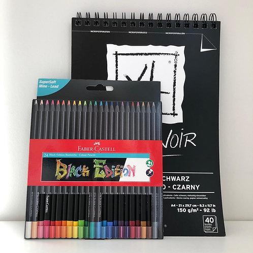 Kit dessin couleur sur noir XL