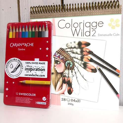 Kit coloriage + crayons de couleur aquarellables