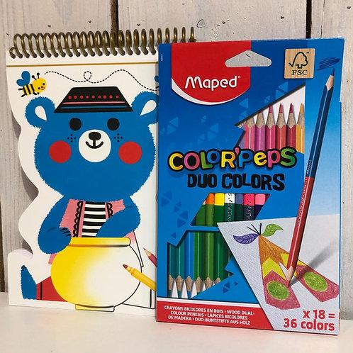 Kit de coloriage + crayons de couleur enfants