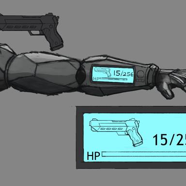 Cybernetic Arms & Pistol - Concept Art