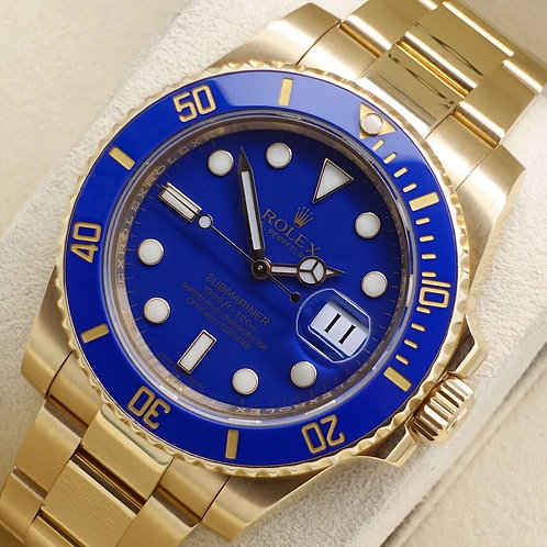 Gents Solid 18ct Yellow Gold Gold Rolex Oyster Perpetual Submariner Flat Blue
