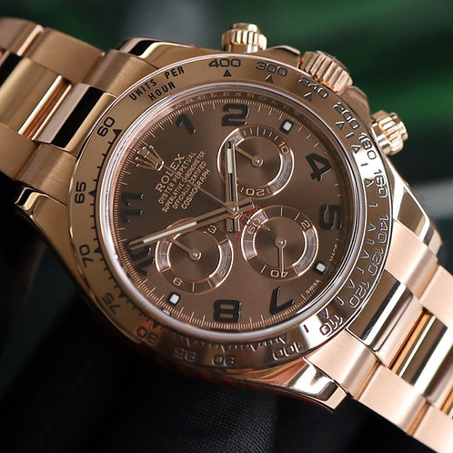 Service Sealed Discontinued Everose Gold Chocolate Dial Rolex Cosmograph Daytona