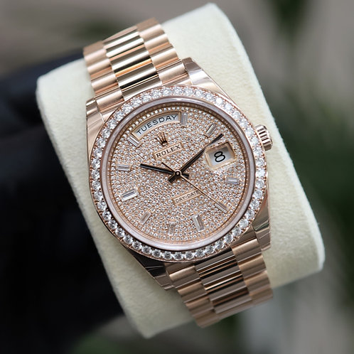 Unworn Pave Diamond 18ct Rose Gold Rolex Oyster Perpetual Day-Date 40 228345RBR