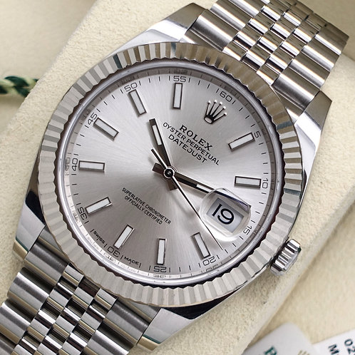 Gents Stainless Steel & 18ct White Gold Rolex Datejust 41 Silver Dial B&P 2018