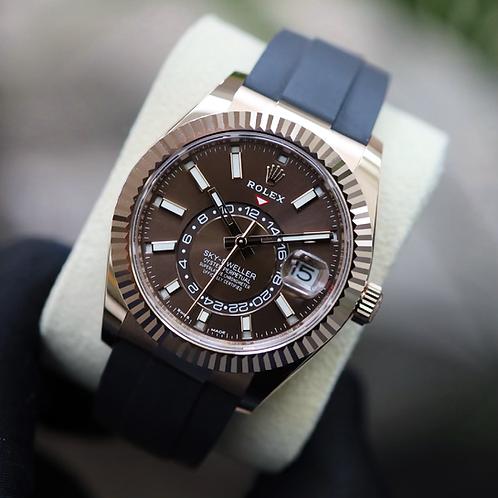 Unworn 2021 18ct Rose Gold Rolex Sky-Dweller Oysterflex Chocolate Dial