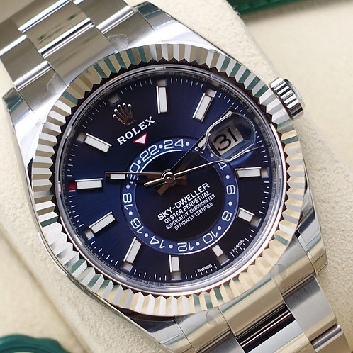 Unworn 2019 Stainless Steel Rolex Oyster Perpetual Sky-Dweller With Blue Dial