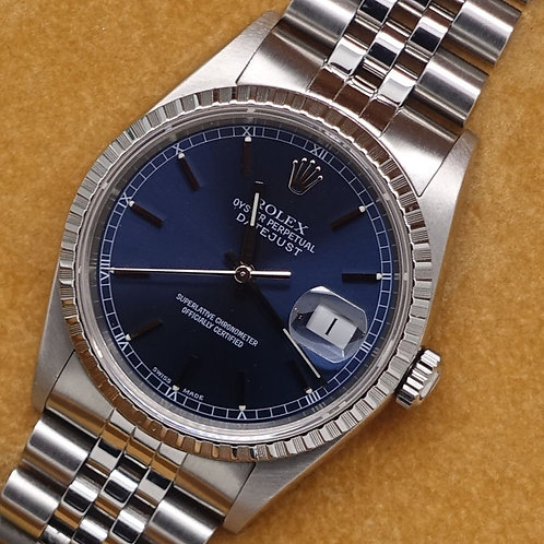 Gents stainless steel Rolex Oyster Perpetual Datejust with Navy Blue Dial