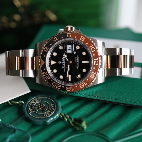 Gents Steel & 18ct Rose Gold Rootbeer GMT-Master II Complete With Box & Papers
