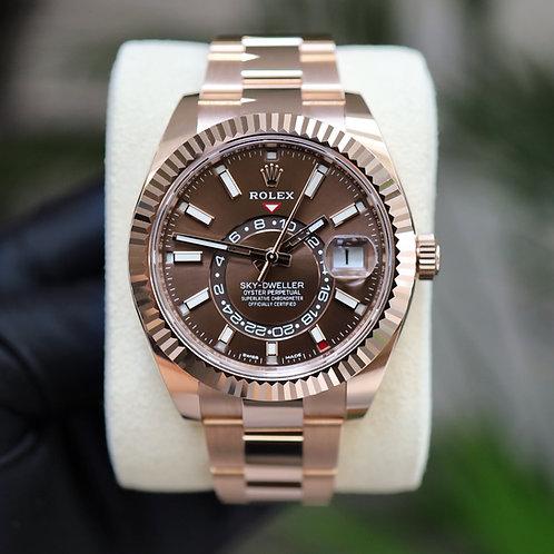 Unworn 2021 18ct Rose Gold Rolex Oyster Perpetual Sky-Dweller Chocolate