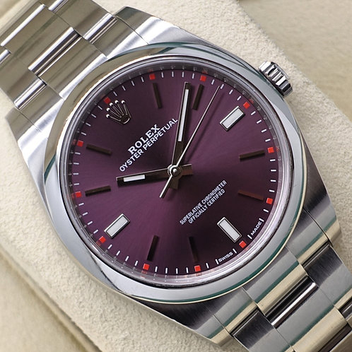 Gents Stainless Steel Rolex Oyster Perpetual 39 Red Grape Dial Box & Papers 2018