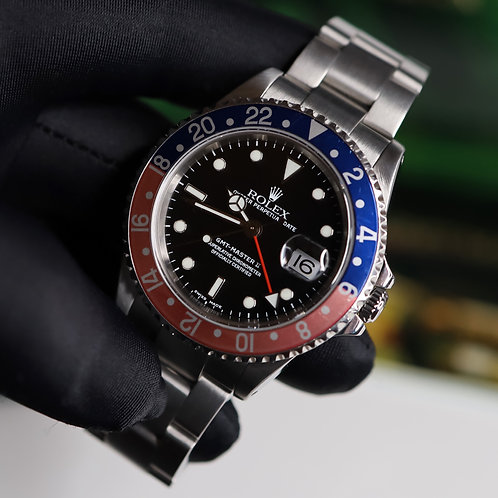 Stainless Steel Pepsi Rolex Oyster Perpetual GMT-Master II 16710 Box & Papers