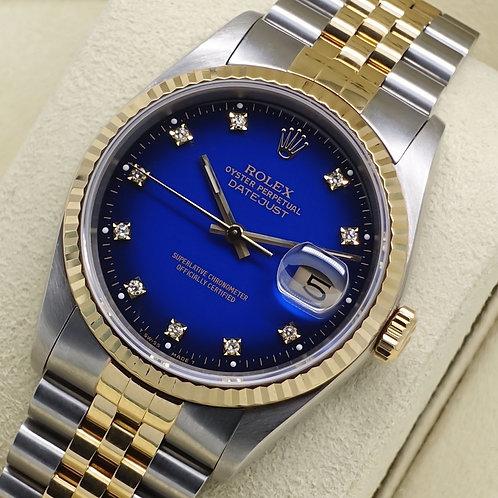 Gents Factory Diamond Blue Vignette Dial Steel & 18ct Gold Rolex Datejust 16233