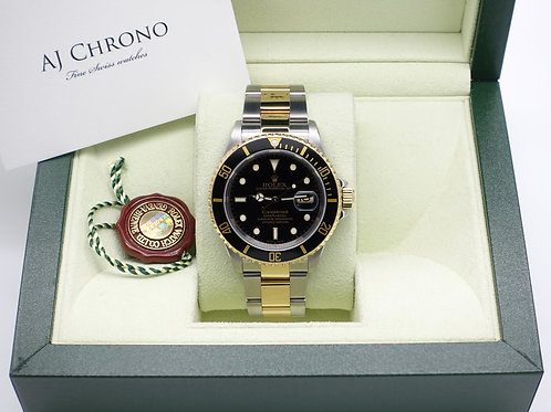 Gents Stainless Steel & 18ct Gold Rolex Oyster Perpetual Submariner Black Kit