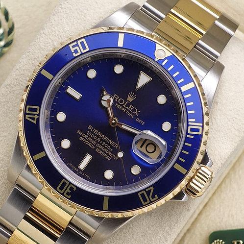 Gents Steel & 18ct Gold Rolex Submariner Blue Kit 16613 2008 Engraved Rehaut