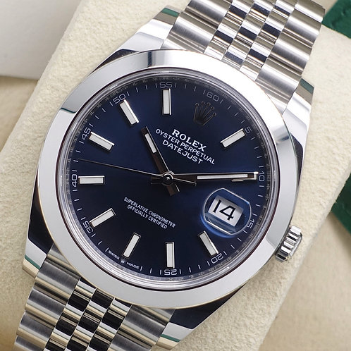 Stainless Steel Rolex Oyster Perpetual Datejust 41 With Blue Baton Dial 126300