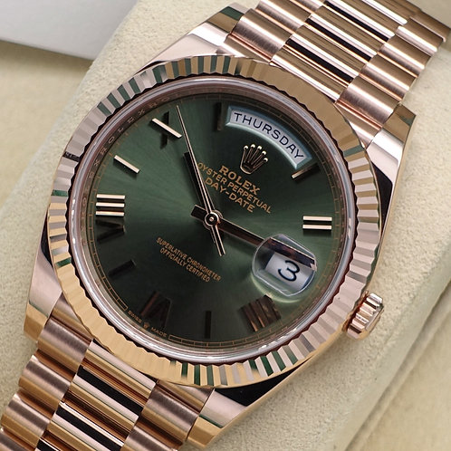 Unworn 18ct Rose Gold Rolex Oyster Perpetual Day-Date 40 Anniversary Olive Dial