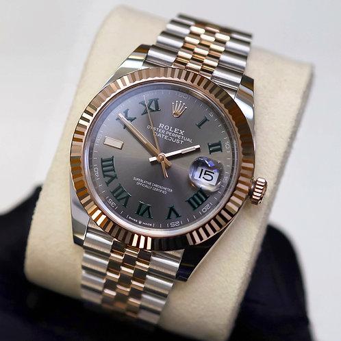 Unworn 2020 Steel & Rose Gold Rolex Oyster Perpetual DJ 41 Wimbledon Dial