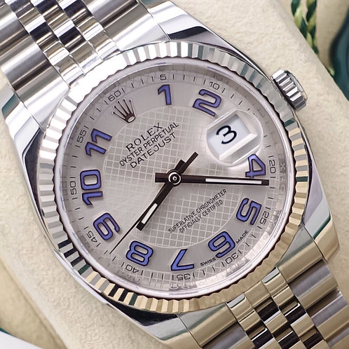 Gents 36mm Steel & 18ct White Gold Rolex Datejust 116234 Box & Papers 2016