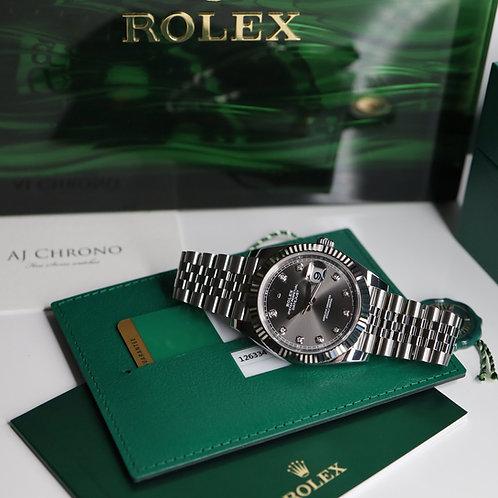 Unworn 2020 Factory Diamond Stainless Steel & 18ct White Gold Rolex Datejust 41