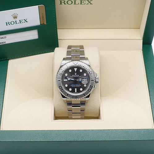 Gents Stainless Steel & Platinum Rolex Yacht-Master Dark Rhodium Dial 116622