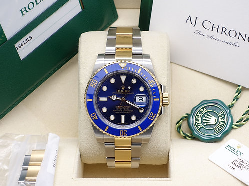 Gents Steel & 18ct Gold Rolex Oyster Perpetual Blue Kit Submariner Date 116613LB