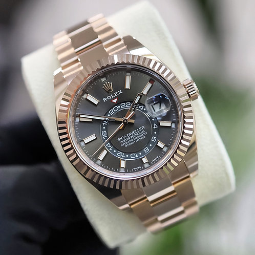 Unworn 2021 18ct Rose Gold Rolex Oyster Perpetual Sky-Dweller Rhodium Dial