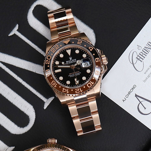 Unworn 2020 18ct Rose Gold Rolex Oyster Perpetual Rolex GMT Master II Rootbeer