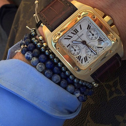 18ct Gold Cartier Santos 100 Chrono
