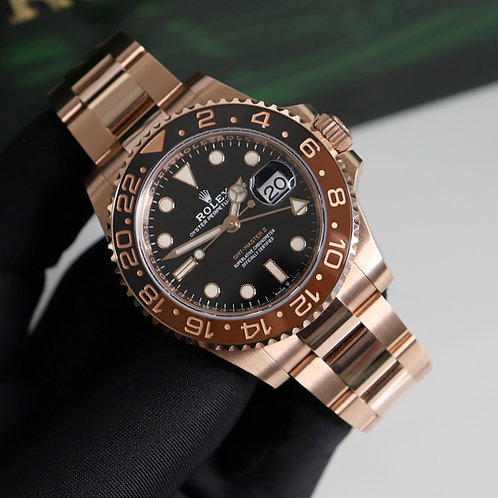 2019 18ct Everose Gold Rolex Oyster Perpetual Rolex GMT Master II Rootbeer