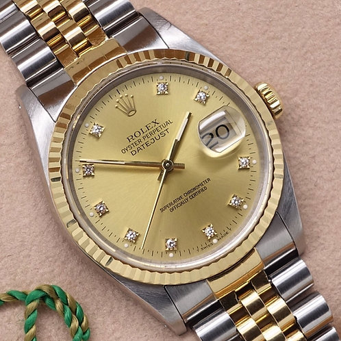 Gents Stainless Steel Rolex Oyster Perpetual Datejust With Factory Diamond Dial